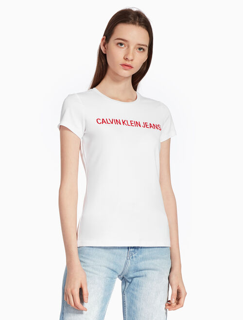 CALVIN KLEIN EMBROIDERED LOGO KNIT TEE