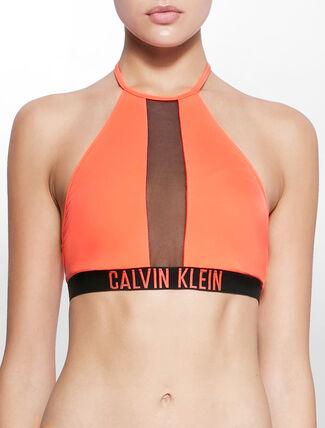 CALVIN KLEIN INTENSE POWER HIGH NECKLINE MESH CROP SWIM TOP