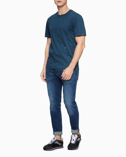CALVIN KLEIN MIXED FABRIC SHORT SLEEVE TEE
