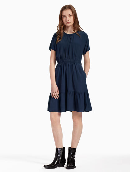 CALVIN KLEIN FLARED SHORT SLEEVE DRESS