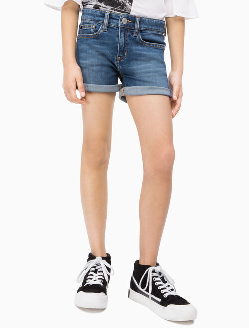 CALVIN KLEIN GIRLS MID RISE SLIM DENIM SHORTS