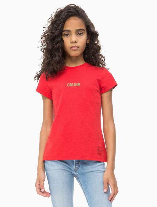 CALVIN KLEIN 여아용 스몰 로고 크루 티셔츠