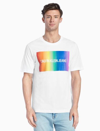 CALVIN KLEIN 레인보우 로고 티셔츠
