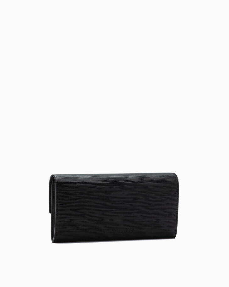 CALVIN KLEIN TEXTURED LEATHER LONG FOLD WALLET