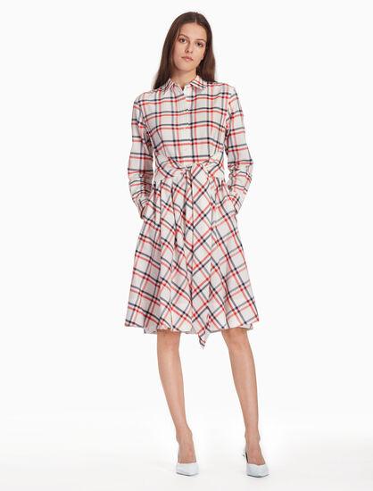 CALVIN KLEIN CHECK SHIRT DRESS
