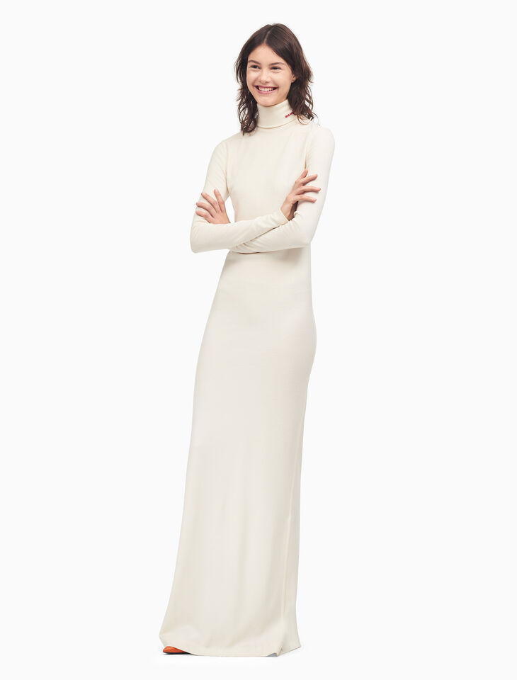 CALVIN KLEIN TURTLENECK LONG DRESS IN INTERLOCK WOOL JERSEY