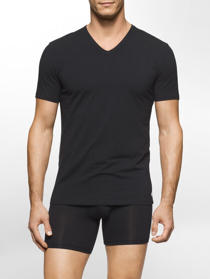 CALVIN KLEIN MODERN COTTON STRETCH SHORT SLEEVES V-NECK TEE - 2 PACK