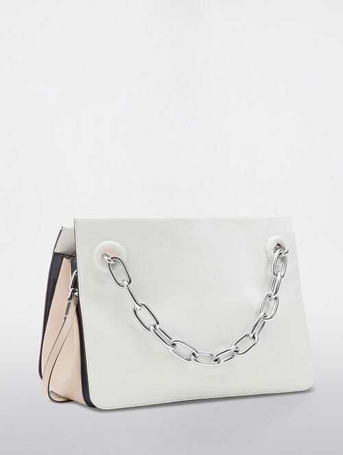 CALVIN KLEIN FLARED SATCHEL WITH CHAIN