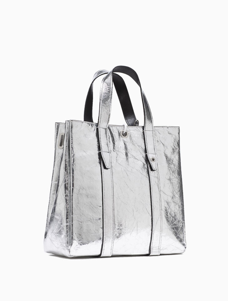 CALVIN KLEIN METALLIC LEATHER CITY TOTE