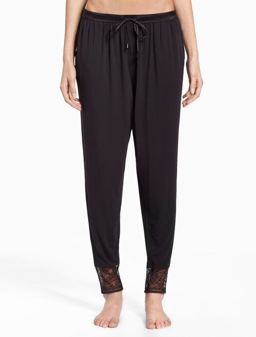 CALVIN KLEIN BLACK SILK KNIT PANTS
