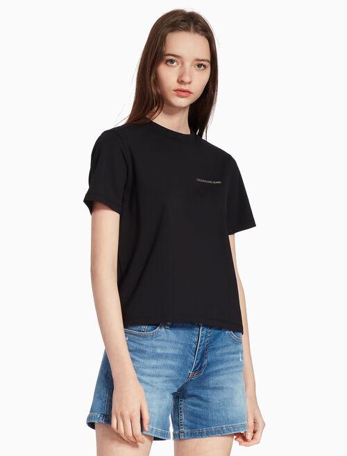 CALVIN KLEIN METALLIC LOGO KNIT 티셔츠
