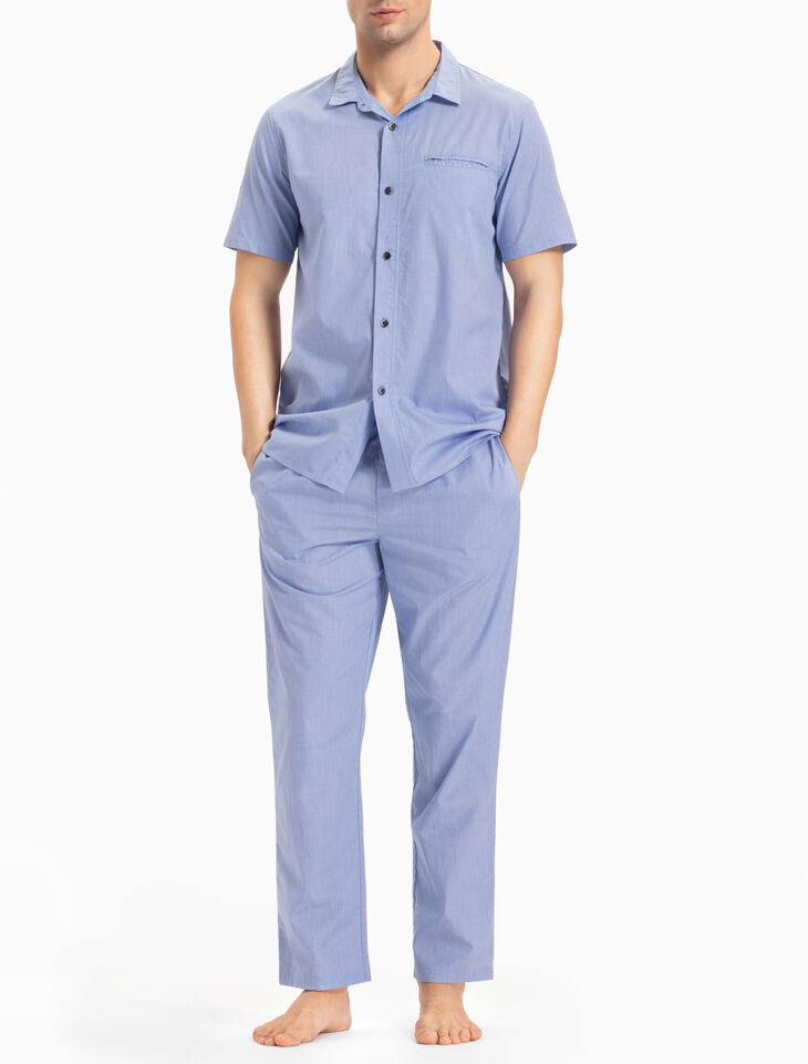 CALVIN KLEIN CHAMBRAY SLEEP BUTTON-DOWN TOP