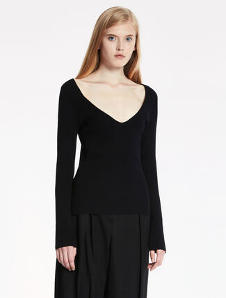 CALVIN KLEIN WARM TOUCH VISCOSE RIBBED Long Sleeves TOP