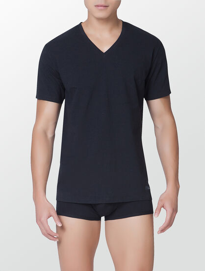 CALVIN KLEIN CK BLACK-COTTON SHORT SLEEVE V-NECK