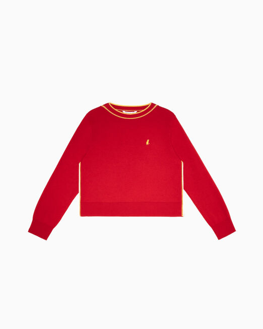 CALVIN KLEIN 여성 씨엔와이 파이핑 디테일 크루넥 스웨터