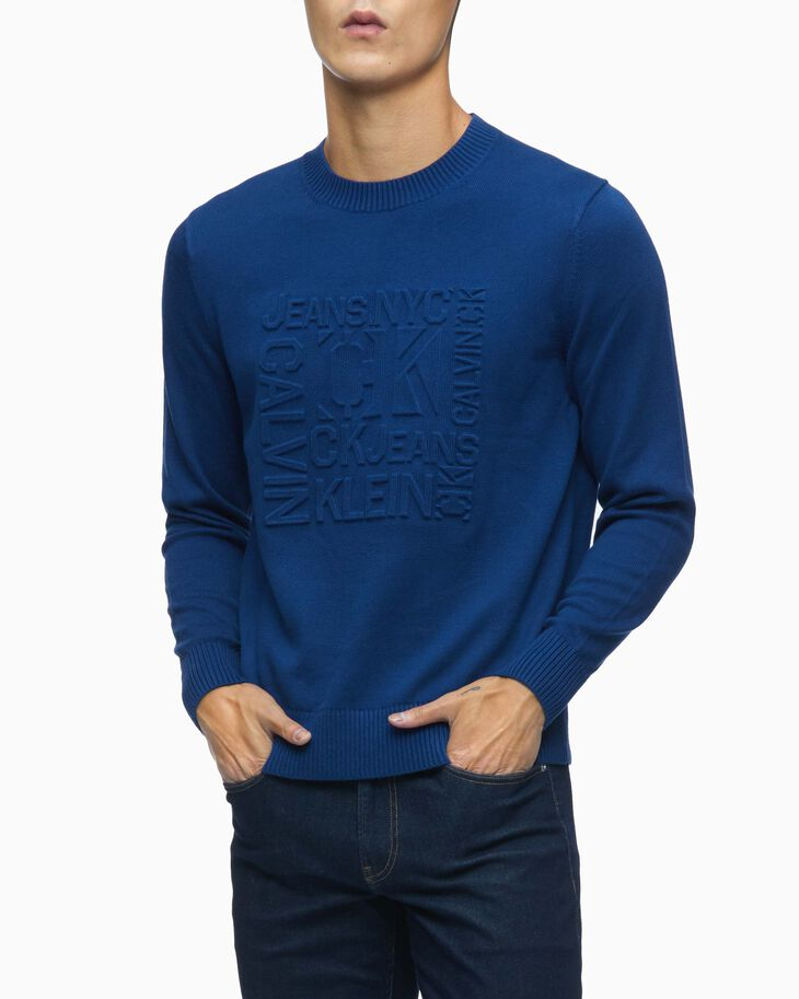 CALVIN KLEIN ORGANIC COTTON EMBOSSED LOGO PULLOVER SWEATER