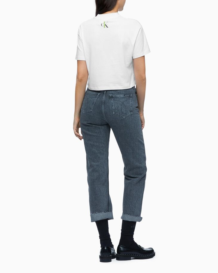 CALVIN KLEIN HIGH RISE STRAIGHT JEANS WITH BELT