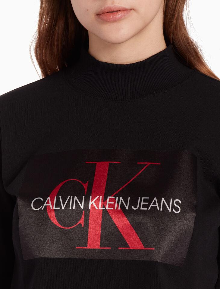 CALVIN KLEIN SATIN LOGO PULLOVER SWEATSHIRT