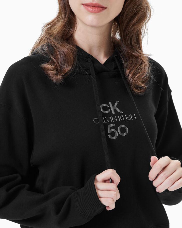CALVIN KLEIN WOMEN CK50 LOGO CROPPED HOODIE
