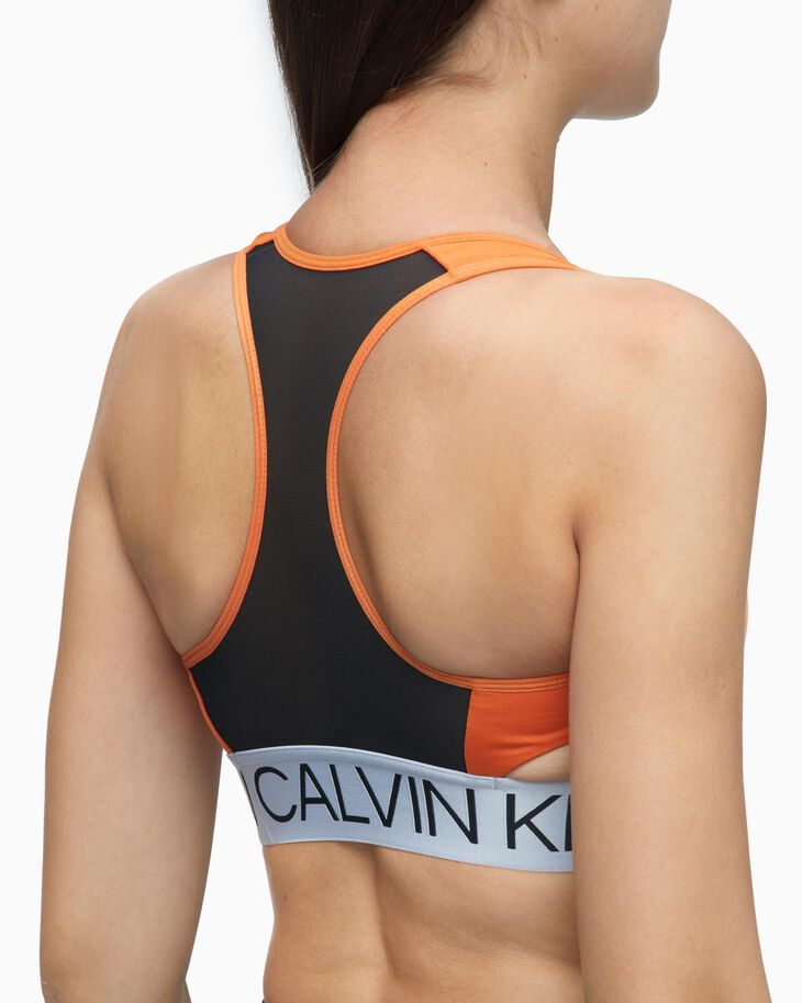 CALVIN KLEIN ACTIVE ICON SILVER LOGO BAND BRA
