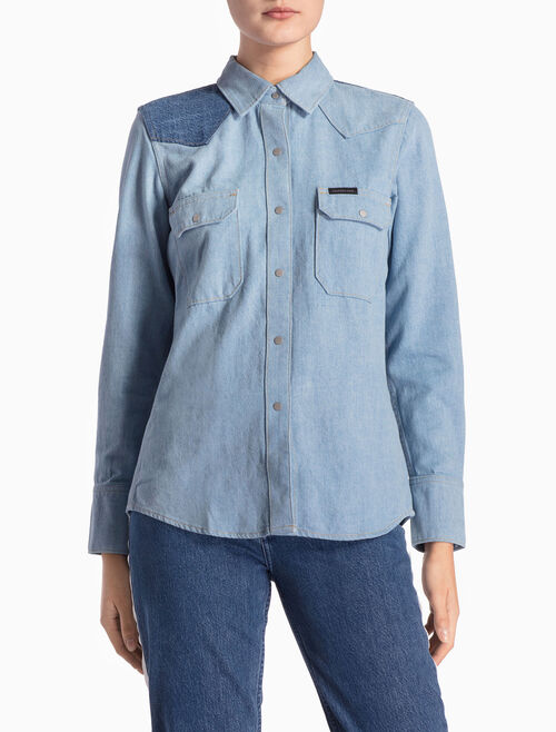 CALVIN KLEIN TRIANGLE BLUE WESTERN LEAN SHIRT