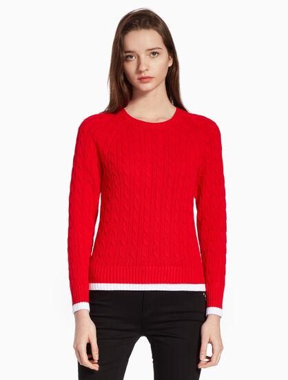 CALVIN KLEIN 撞色飾邊麻花針織毛衣