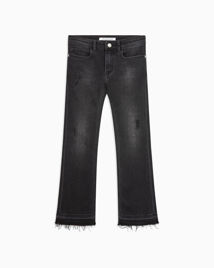 CALVIN KLEIN GIRLS DISTRESSED MID RISE FLARE JEANS