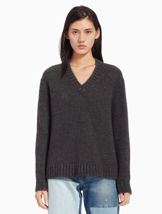 CALVIN KLEIN APLACA WOOL V NECK SWEATER