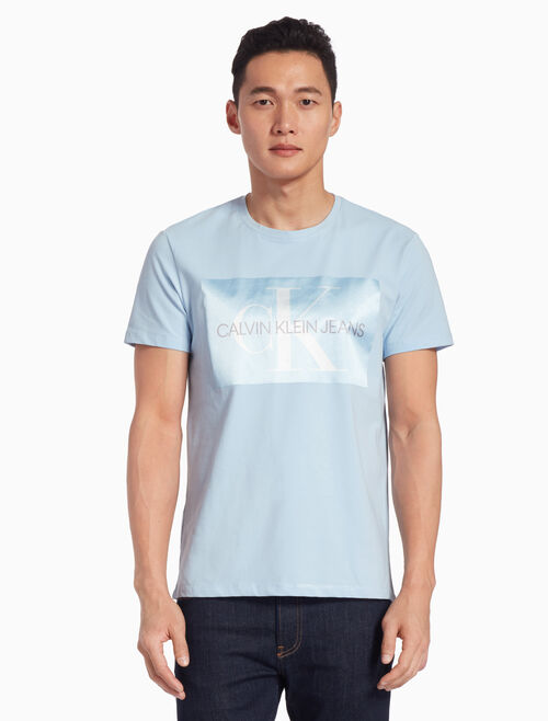 CALVIN KLEIN SATIN MONOGRAM LOGO APPLIQUE TEE