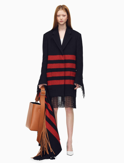 CALVIN KLEIN Fringed Blanket Coat