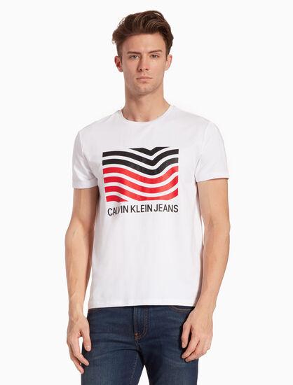 CALVIN KLEIN LOGO FLAG PRINT T シャツ
