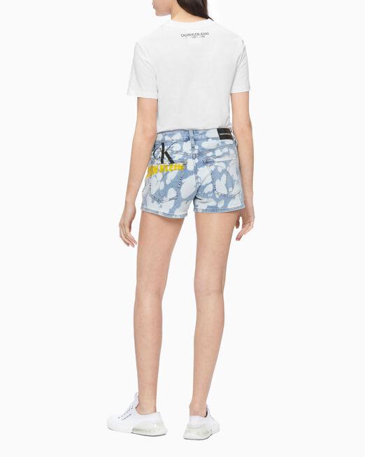 CALVIN KLEIN 여성 디스토디드 레인보우 스트레이트핏 티셔츠