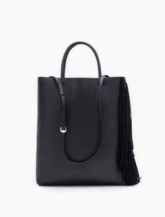 CALVIN KLEIN ENVELOPED SMALL TOTE BAG WITH FRINGES
