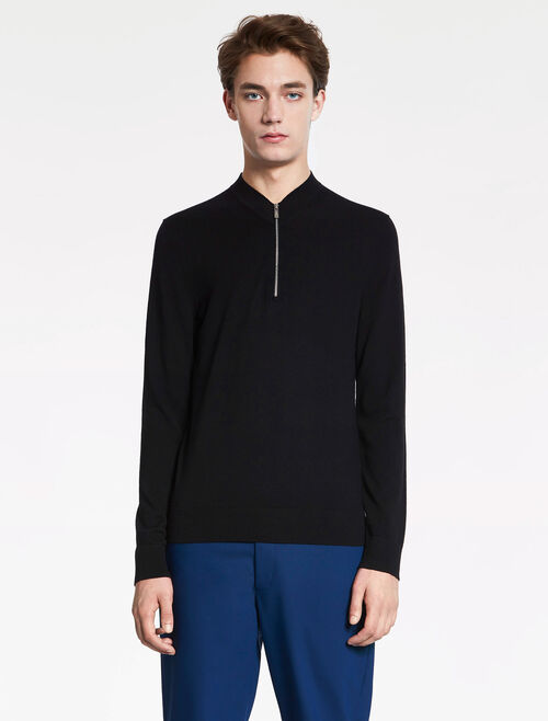 CALVIN KLEIN SOFT WOOL COTTON Long Sleeves HALF ZIP TOP