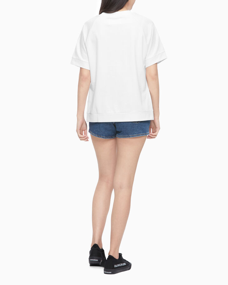 CALVIN KLEIN MONOGRAM EMBROIDERY SHORT SLEEVE SWEATSHIRT