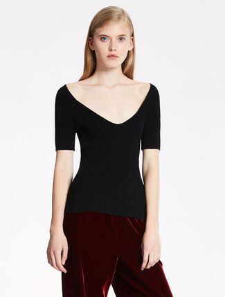 CALVIN KLEIN WARM TOUCH VISCOSE RIBBED Short Sleeves TOP
