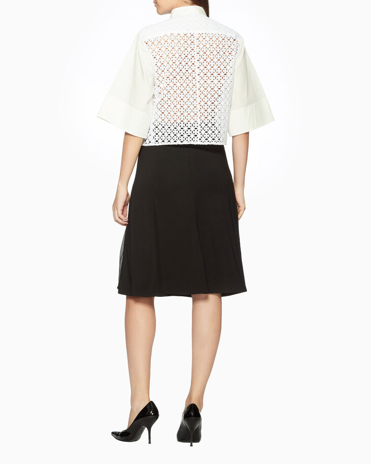 CALVIN KLEIN EMBROIDERED EYELET BOXY SHIRT