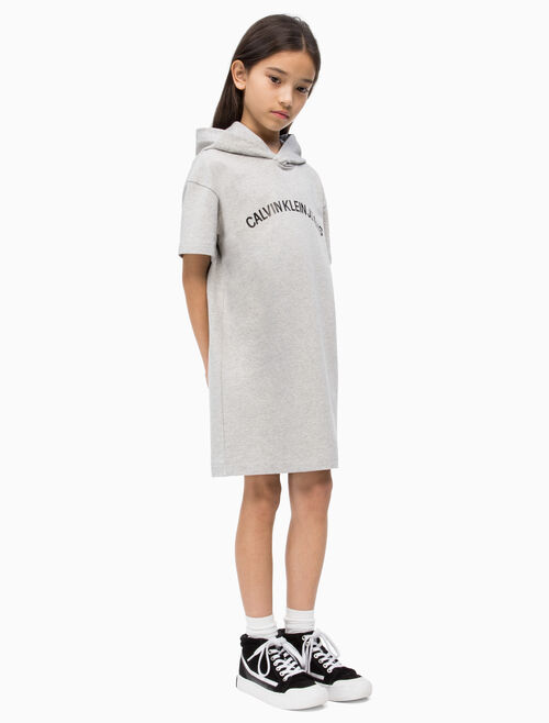 CALVIN KLEIN 여아용 로고 후드 스웨트 드레스