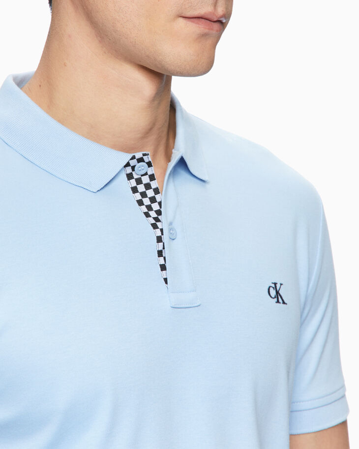 CALVIN KLEIN LIQUID TOUCH RACE CHECK POLO SHIRT
