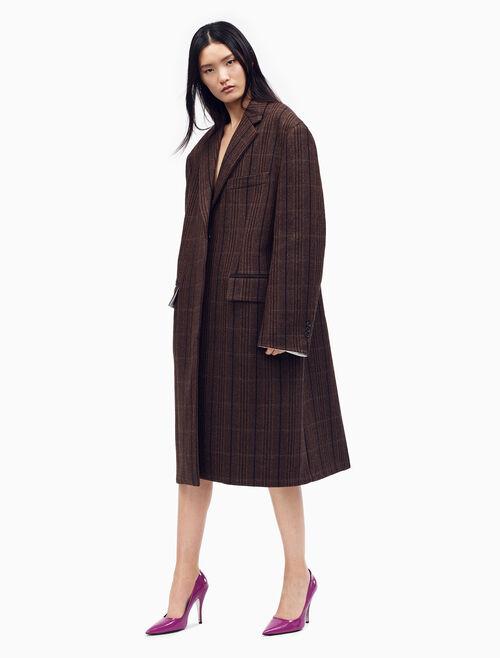 CALVIN KLEIN 加大版單排扣 BOXY 條紋復古羊毛大衣