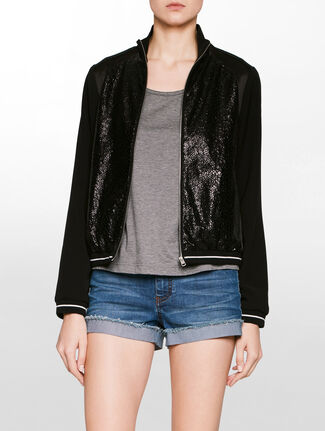 CALVIN KLEIN OLSA MIX MEDIA TRACK BOMBER JACKET