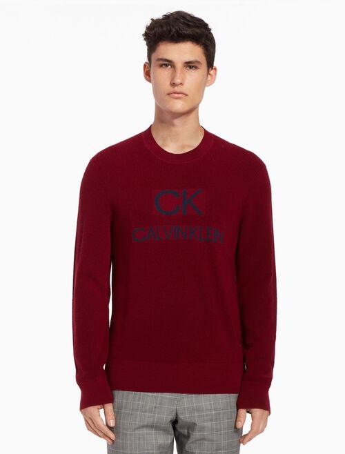 CALVIN KLEIN Logo knit pullover sweater