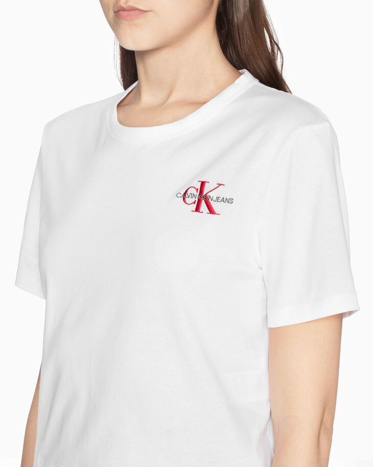 CALVIN KLEIN EMBROIDERED MONOGRAM 티셔츠