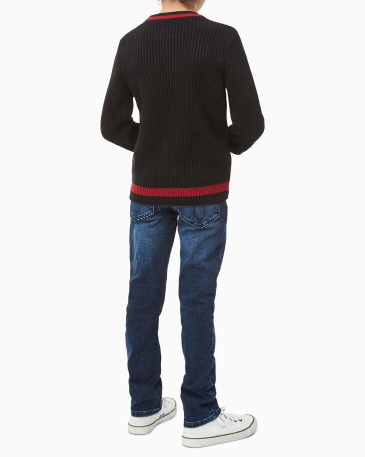 CALVIN KLEIN BOYS RIB KNIT LOGO SWEATER