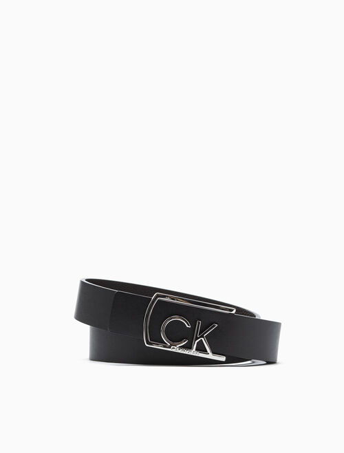 CALVIN KLEIN CUT OUT LOGO BUCKLE BELT