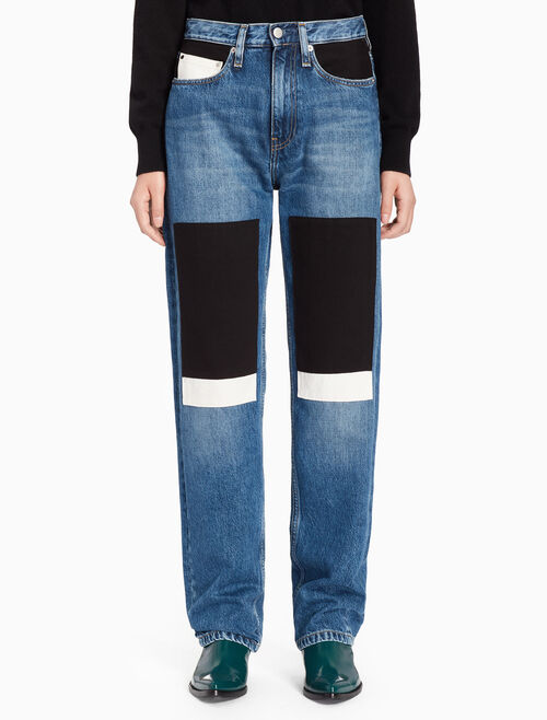 CALVIN KLEIN CKJ 030 WOMEN HIGH RISE STRAIGHT PATCHWORK SELVEDGE JEANS