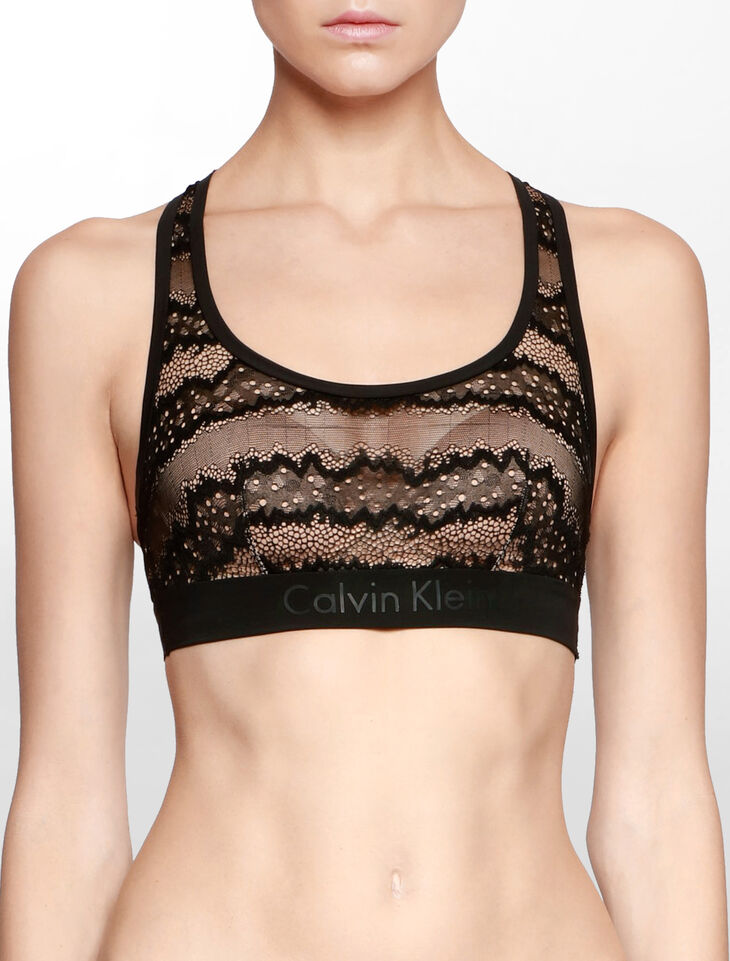 CALVIN KLEIN CK BLACK LOGO ELECTRIC UNLINED BRALETTE