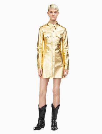 CALVIN KLEIN Leather Uniform Shirt Dress In Gold