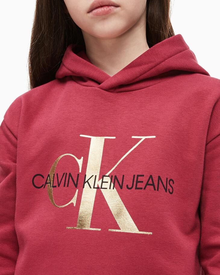 CALVIN KLEIN GIRLS' MONOGRAM LOGO SWEATSHIRT DRESS