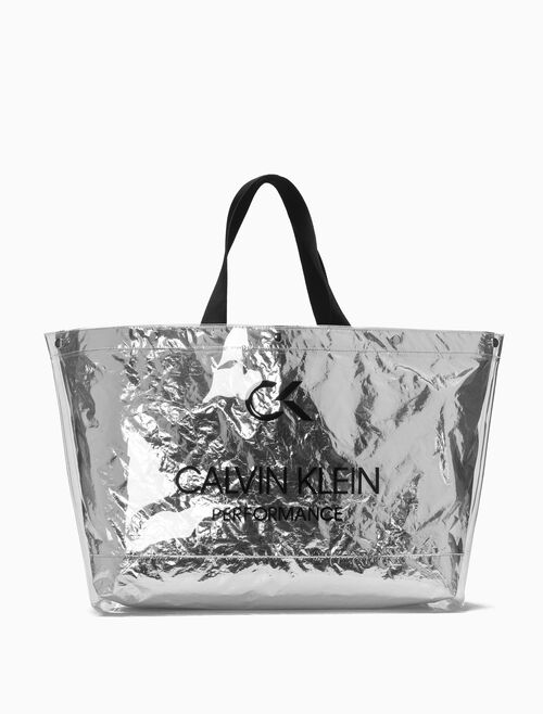 CALVIN KLEIN LARGE TRANSPARENT METALLIC TOTE